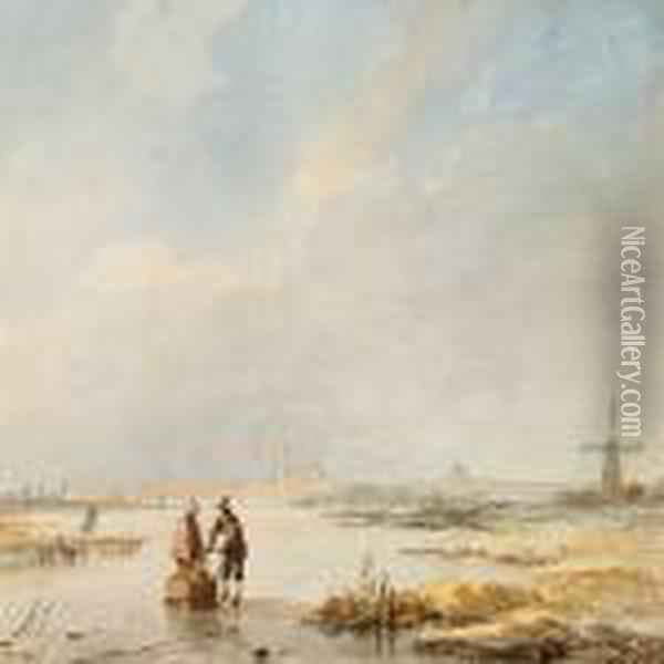Dutch Winter Scene With A Couple On A Frozen Channel Oil Painting - Andreas Schelfhout