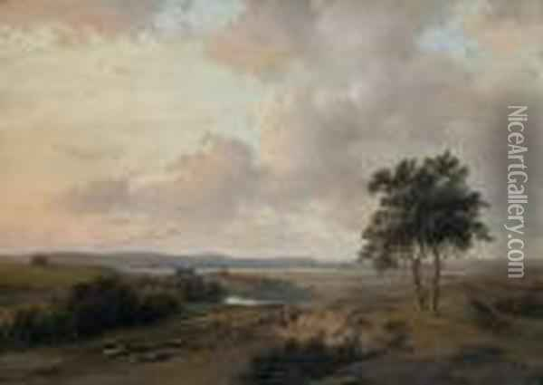 A Panoramic Summer Landscape With Figures On A Path Oil Painting - Andreas Schelfhout