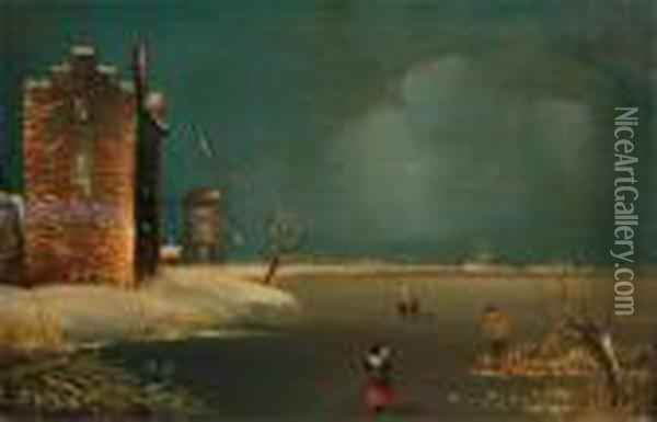 Figures On A Frozen Lake With Windmills Oil Painting - Andreas Schelfhout