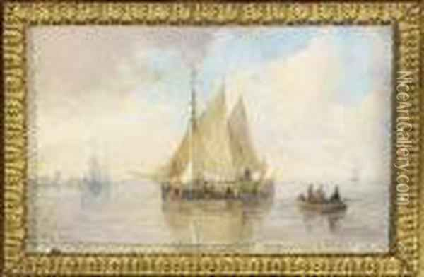 Sailing-vessels On An Estuary Oil Painting - Andreas Schelfhout