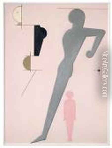 Komposition Auf Rosa (rekonstruktion) / Composition On Pink Gound (reconstruction) Oil Painting - Oskar Schlemmer