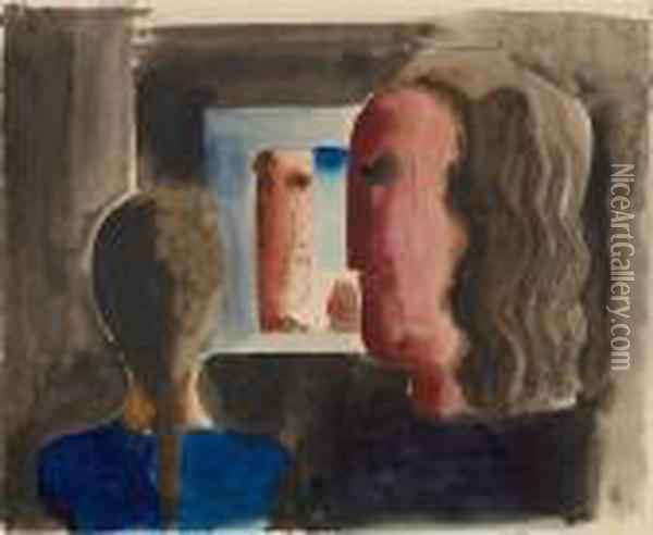 Drei Kopfe Am Fenster / Three Heads At A Window Oil Painting - Oskar Schlemmer