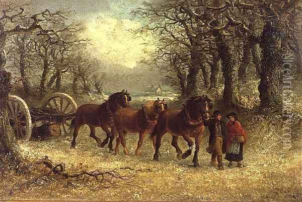 Couple leading a horse-drawn logging cart in winter Oil Painting - Thomas Smythe