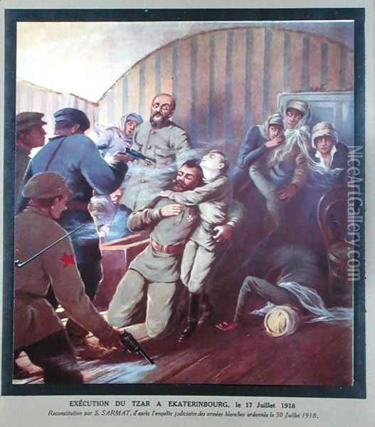 Execution of Tsar Nicholas II 1868-1918 and his Family at Yekaterinburg, 17th July 1918, from Histoire des Soviets by H. de Weindel, 1923-24 Oil Painting - S. Sarmat