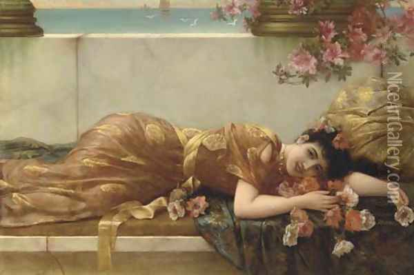 A Reclining Beauty Oil Painting - Eisman Semenowsky