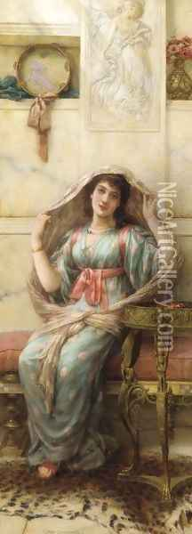 A seated young lady in a shawl Oil Painting - Eisman Semenowsky