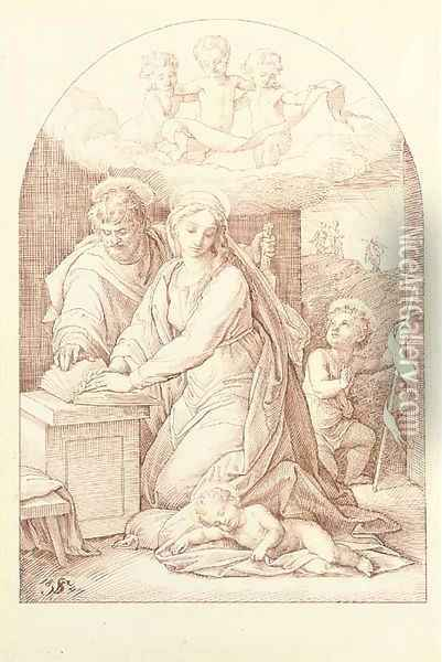 The Holy Family with the Infant Baptist Oil Painting - Julius Schnorr Von Carolsfeld