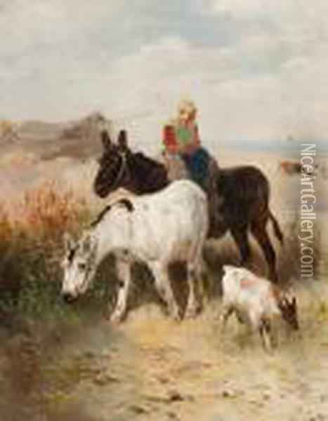 Donkey Ride In The Dunes Oil Painting - Henry Schouten