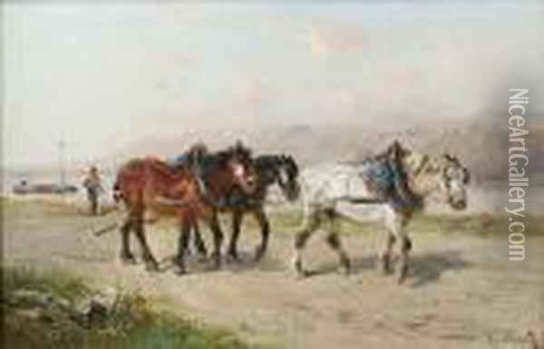 Cart Horses On A Coastal Road Oil Painting - Henry Schouten
