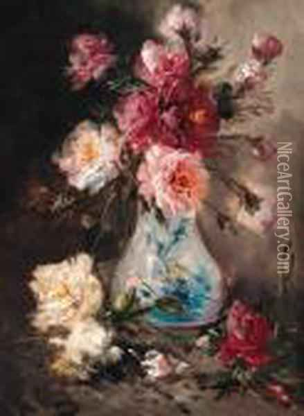 Roses In A Vase Oil Painting - Henry Schouten