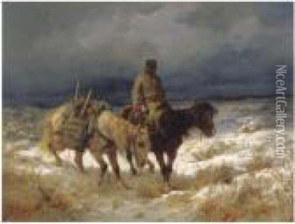 Horseman On The Russian Steppe Oil Painting - Adolf Schreyer