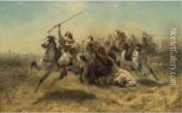 The Charge Oil Painting - Adolf Schreyer