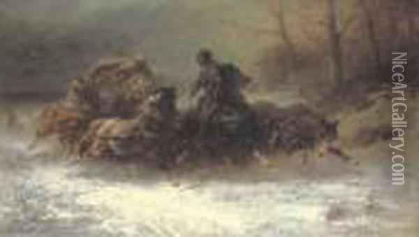 Hunted By Wolves Oil Painting - Adolf Schreyer