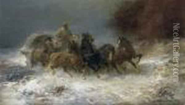 Horse And Carriage In Winter Oil Painting - Adolf Schreyer