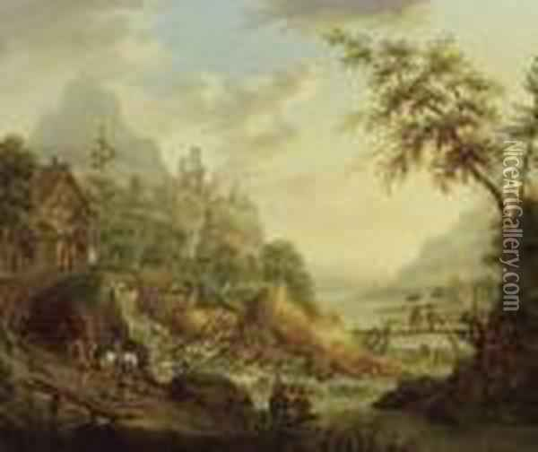 Ideal Riverscape With Ruins Oil Painting - Christian Georg Schuttz II