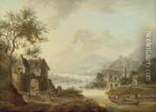 An Extensive Rhenish River Landscape Oil Painting - Christian Georg Schuttz II
