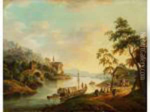 Rheinlandschaft Oil Painting - Christian Georg Schuttz II