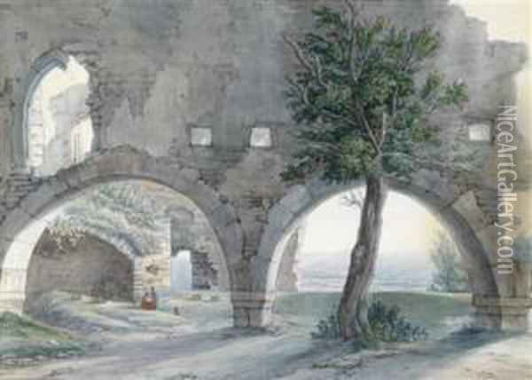 A View Of A Rhine Landscape Oil Painting - Christian Georg Schuttz II