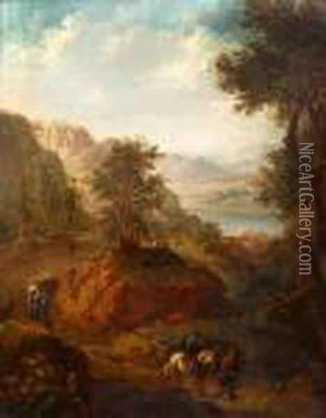 Travellers In A Landscape Oil Painting - Christian Georg Schuttz II