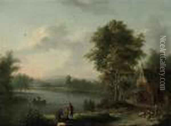 A River Landscape With Anglers On A Bank And A Shepherd With Hisflock On A Track Oil Painting - Christian Georg Schuttz II