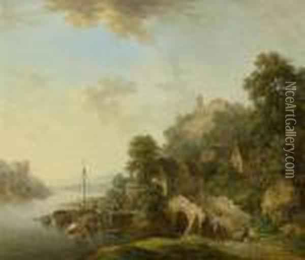 Rhine Valley With View Over The Town Of Braubach With Marksburg Oil Painting - Christian Georg Schuttz II