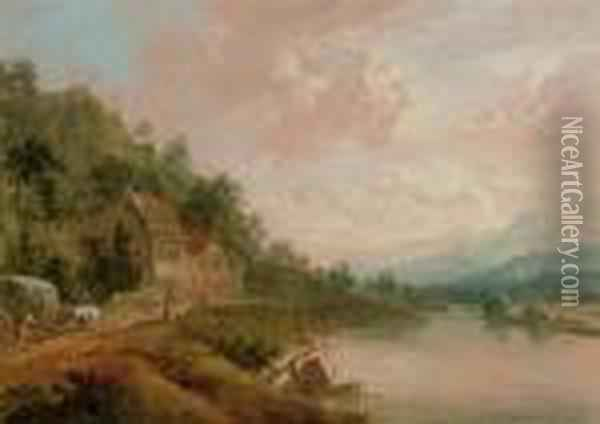 A Mountainous River Landscape With Figures And A Hay-cart On Atrack By A Cottage Oil Painting - Christian Georg Schuttz II