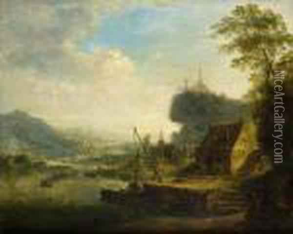 Flusslandschaft Oil Painting - Christian Georg Schuttz II