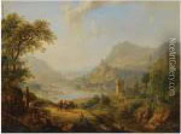 An Extensive Rhenish Landscape  With Shepherds And Travellersresting On A Path In The Foreground, A View  Of A Castle And Avillage Beyond Oil Painting - Christian Georg Schuttz II