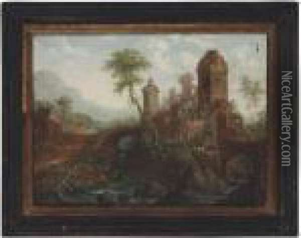 A River Landscape With Travellers Approaching A Castle On Anisland Oil Painting - Christian Georg Schuttz II