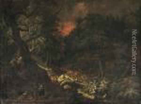 An Evening Wooded Landscape With Figures Conversing On Atrack Oil Painting - Christian Georg Schuttz II