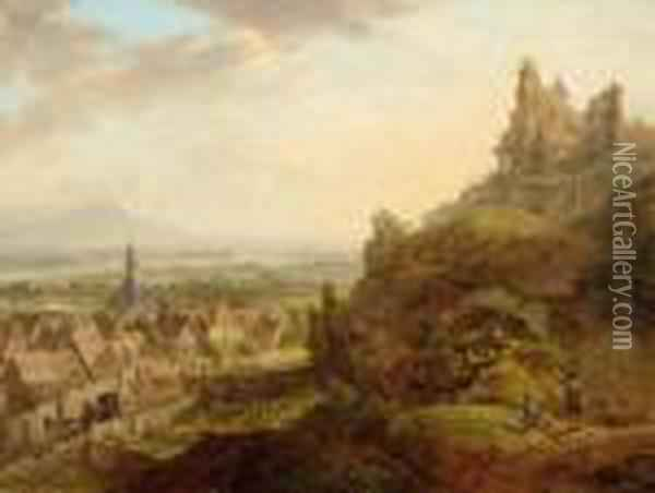 View Of Oppenheim Along The Rhine Seen From Pilgersberg. Oil Painting - Christian Georg Schuttz II