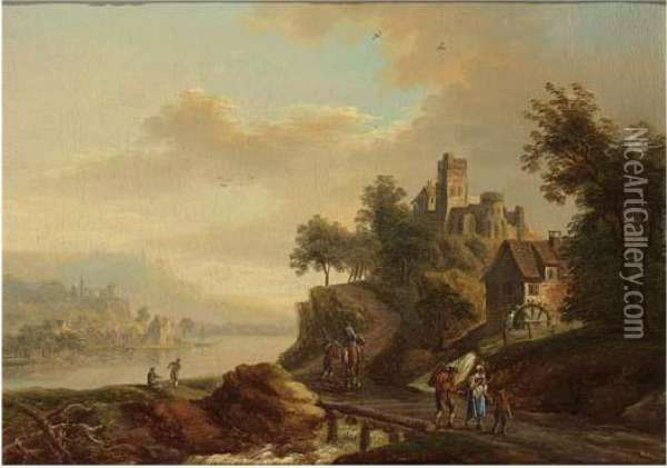 A River Landscape With Travellers On A Path, A Castle On A Mountain Beyond Oil Painting - Christian Georg Schuttz II