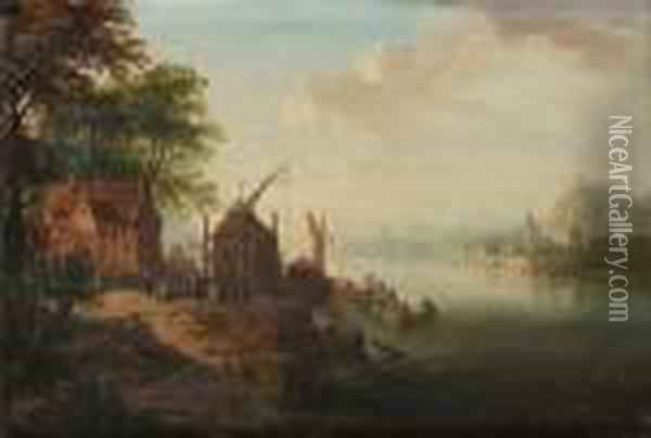 A Rhenish River Landscape With Boats Moored At A Jetty Oil Painting - Christian Georg Schuttz II