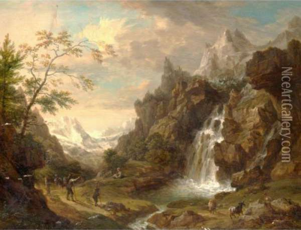An Extensive Alpine Landscape With Figures Beside A Stream Oil Painting - Christian Georg Schuttz II