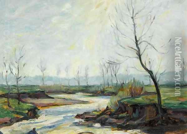 River in a Winter Landscape (Fluss im Winter) Oil Painting - Max Slevogt