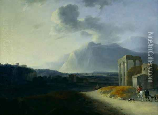 Landscape with Mount Stromboli Oil Painting - Willem Schellinks