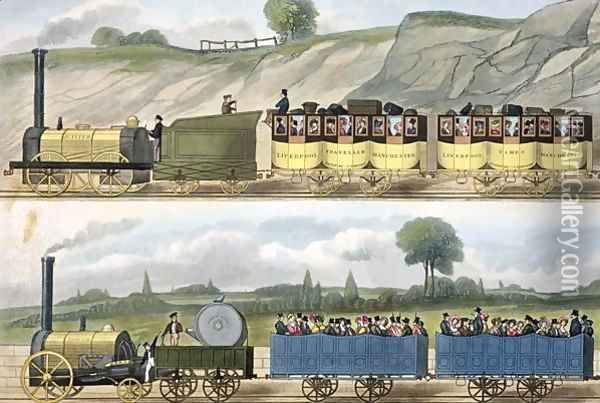 A Train of the First Class top and a Train of the Second Class bottom from Coloured View of the Liverpool - Manchester Railway, engraved by S.G. Hughes, published by Ackermann & Co., London, 1832-33 Oil Painting - Isaac Shaw
