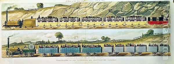 Travelling on the Liverpool and Manchester Railway A Train of the First Class of Carriages with the Mail, and A Train of the Second Class for Outside Passengers, engraved by S.G. Hughes, pub. by R. Ackermann, 1831 Oil Painting - Isaac Shaw
