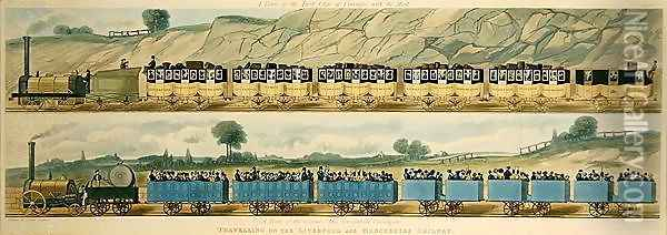 Travelling on the Liverpool and Manchester Railway A Train of the First Class of Carriages with the Mail, and A Train of the Second Class for Outside Passengers, engraved by S.G. Hughes, 1831 Oil Painting - Isaac Shaw