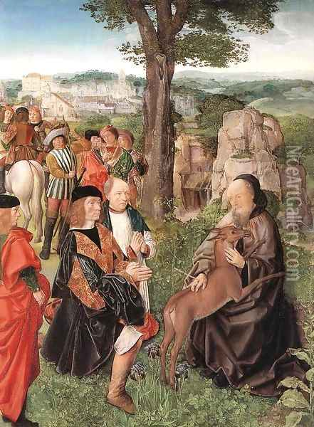 St Gilles and the Hind c. 1500 Oil Painting - Master of St. Gilles