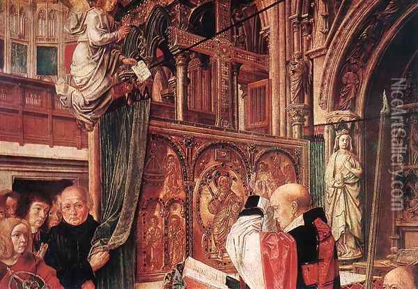 St Gilles' Mass (detail) c. 1500 Oil Painting - Master of St. Gilles