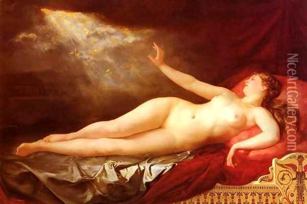 Danae Sous L'Ondee D'Or (Danae and the Golden Shower) Oil Painting - Eugene Soubiran