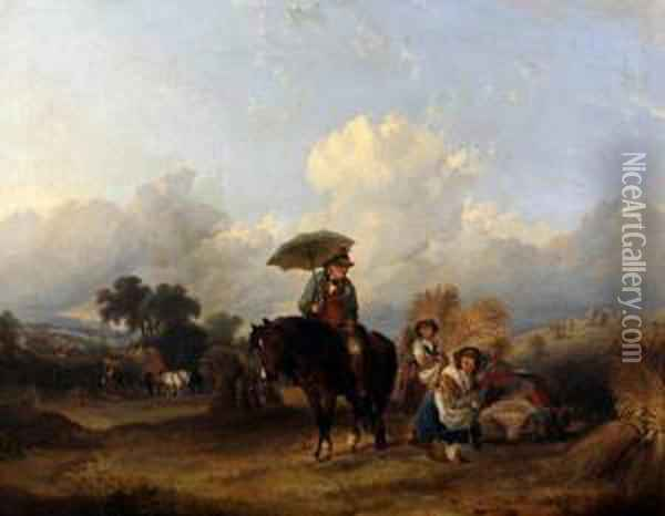 Visiting The Corn Gatherers Oil Painting - William Joseph Shayer