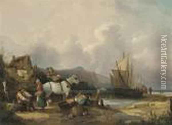 Fisherfolk On The Beach, Unloading The Catch Oil Painting - Snr William Shayer