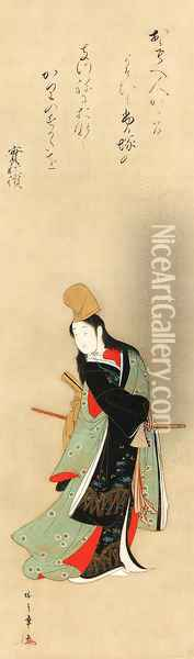 Courtesan dancing in male costume Oil Painting - Katsukawa Shunsho