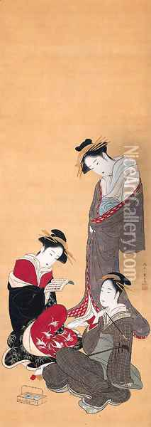 Three beauties Oil Painting - Katsukawa Shunsho