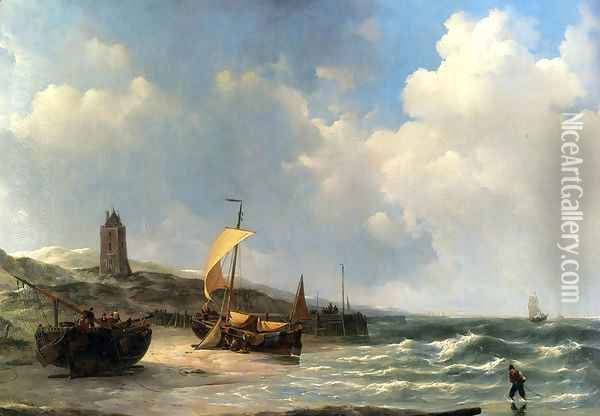 Fishing Boats At Low Tide Oil Painting - Jan Christianus Schotel