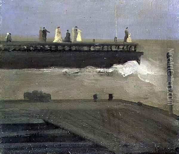 On the Pier Oil Painting - George Sauter