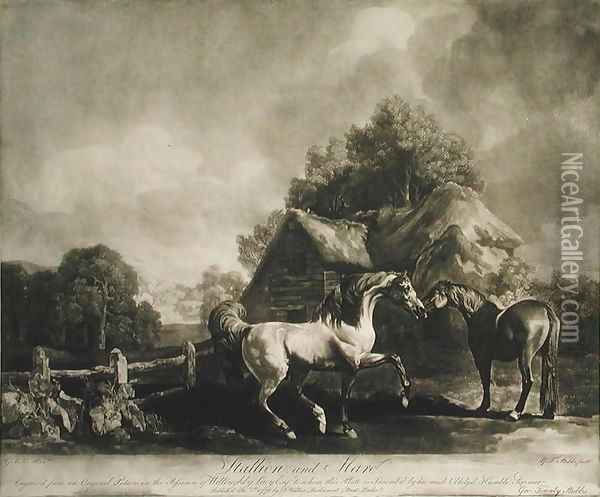 Stallion and Mare, engraved by George Townley Stubbs 1756-1815 1776 Oil Painting - George Stubbs