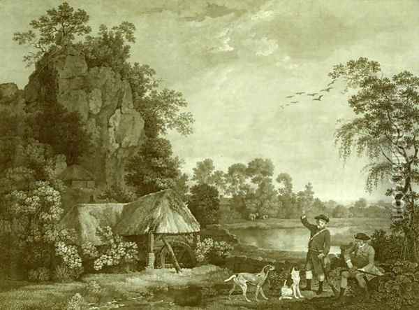 Two Gentlemen Going a Shooting, with a View of Creswell Crags, Taken on the Spot, Plate 1 Oil Painting - George Stubbs